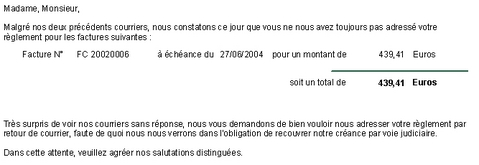 ebp gestion commerciale 2006: une lettre de relance